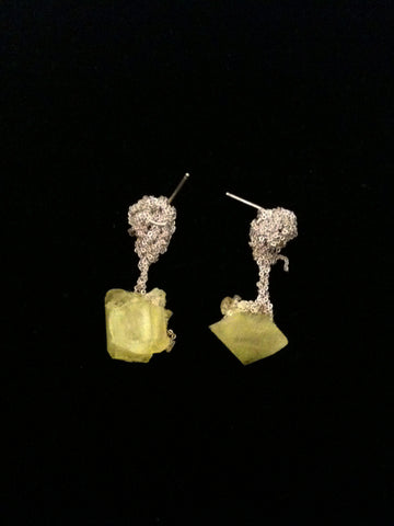 Crystal Drop Earrings - Citron + Ash Silver