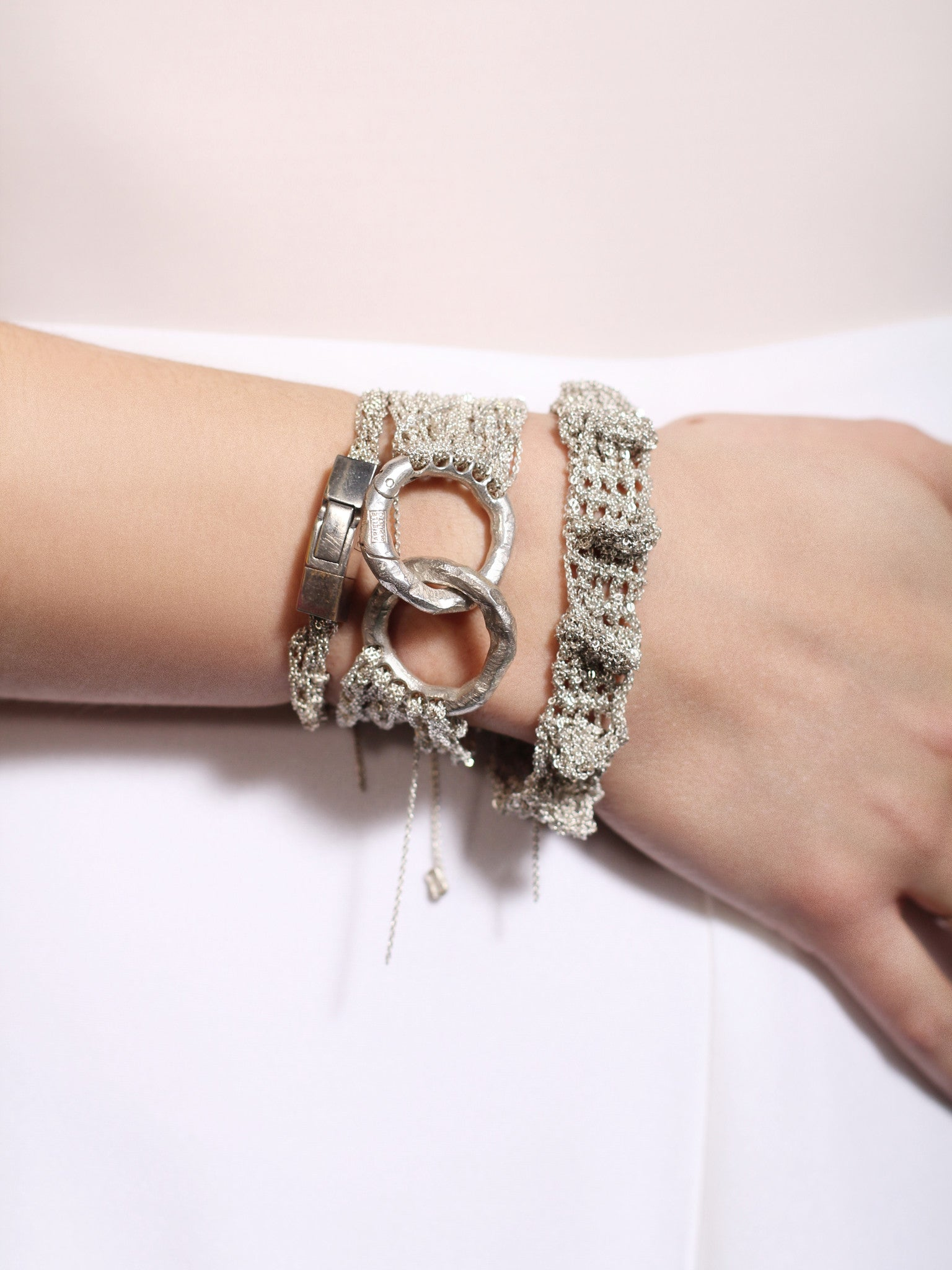Multi Tress Bracelet w/ Ring Clasp in Silver