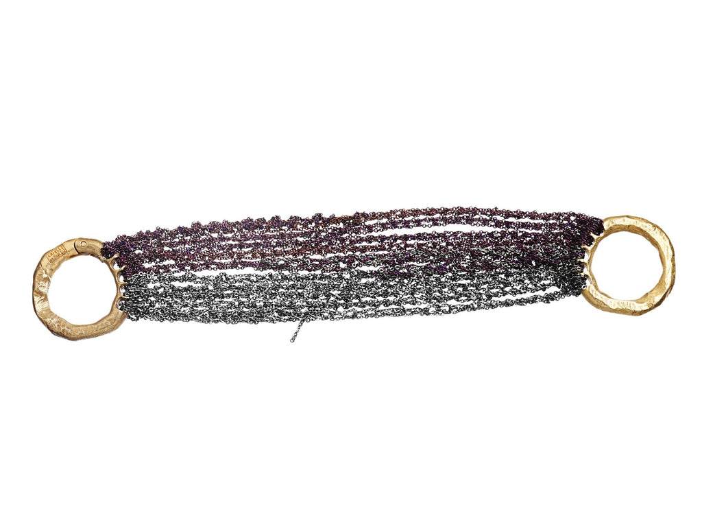 Multi Tress Bracelet w/ Brass Clasp in Plum + Charcoal
