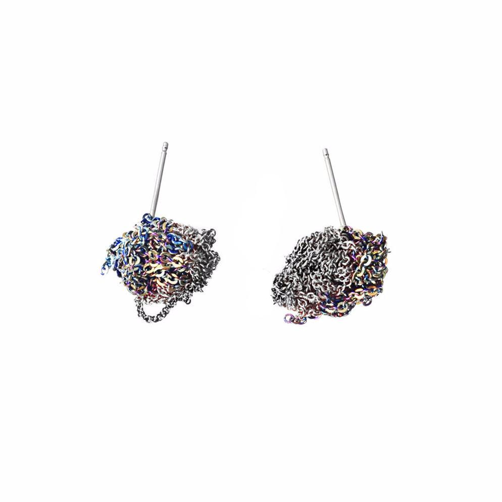 2-Tone Bead Earrings in Spectrum + Faded Silver