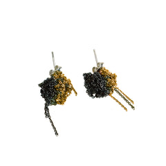 - 2 Tone Bead Earrings - Gold + Midnight -