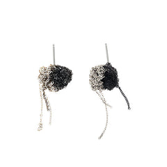 - 2 Tone Bead Earrings - Silver + Midnight -