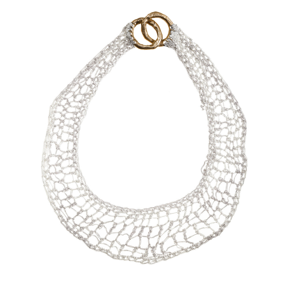 Clasped Lattice Collar in Silver w/Brass Hardware