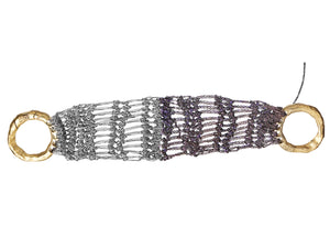 Wide Lattice Bracelet in Ash + Plum w/ Brass Clasp