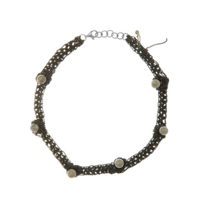 Zen Nuggy Choker in Charcoal w/Labradorite