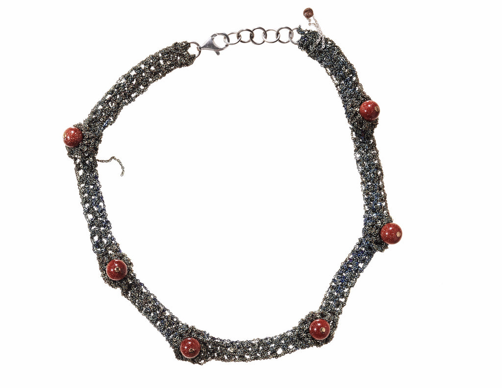Zen Nuggy Choker in Army w/ Goldstone