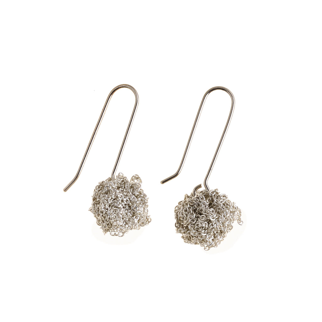 Hook Bead Earrings in Silver