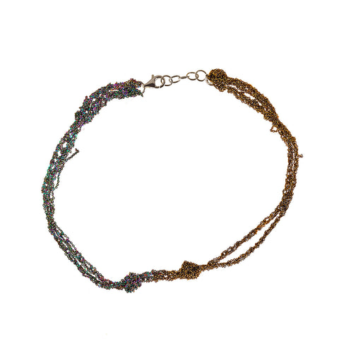 - Siamese Choker - Burnt gold + Spectrum
