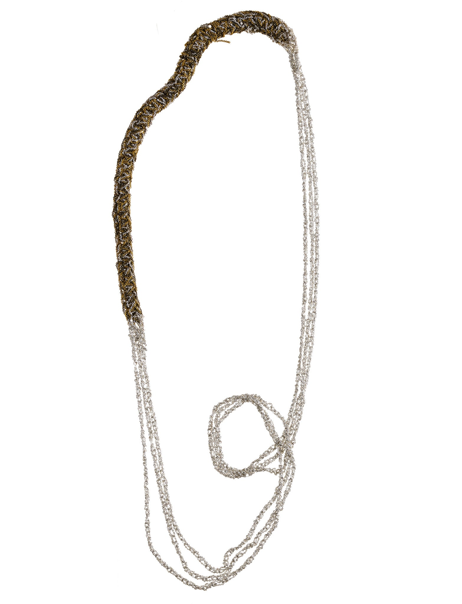 Baroque Slim Necklace in Silver + Gold + Haze