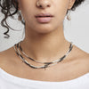 - 3-Tiered Simple Necklace - Silver Dalmatian -