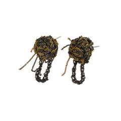 - Fleuret Earrings - Midnight + Haze + Gold -