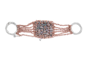 Split Baroque Bracelet in Rose Gold + Silver + Spectrum w/ Silver Hardware