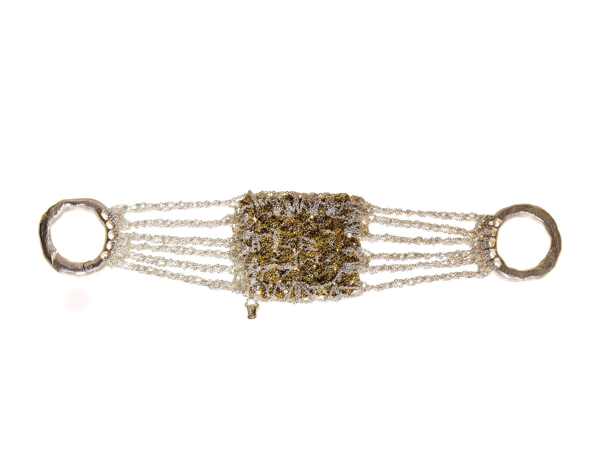 Split Baroque Bracelet in Silver + Gold + Haze w/ Silver Hardware