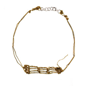 Clasped Bare Frame Necklace in Burnt Gold