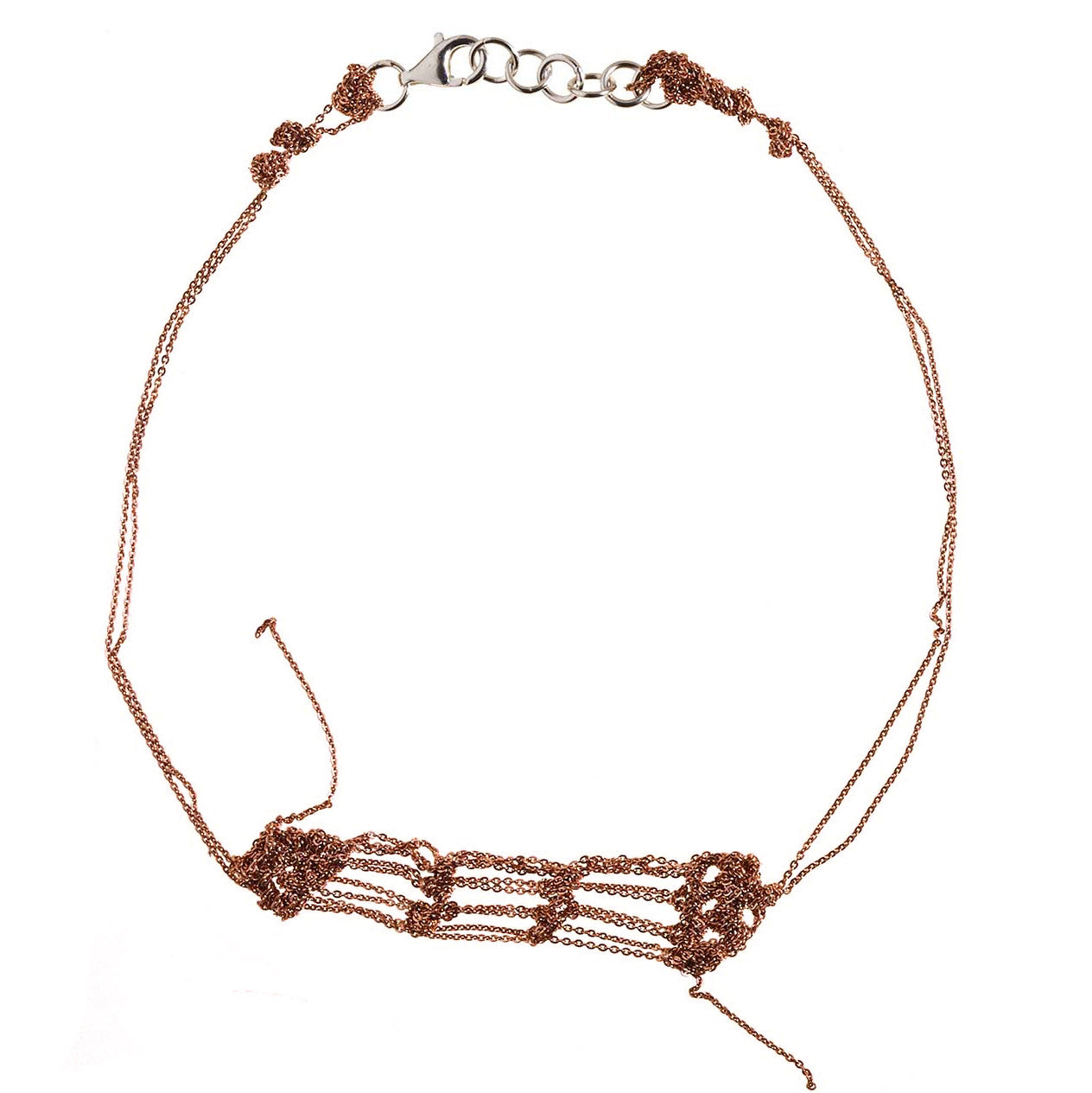 Clasped Bare Frame Necklace in Rose gold