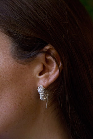 Pipette Cuff Earrings in Silver