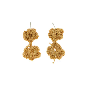 Pansy Chain Earrings in Gold