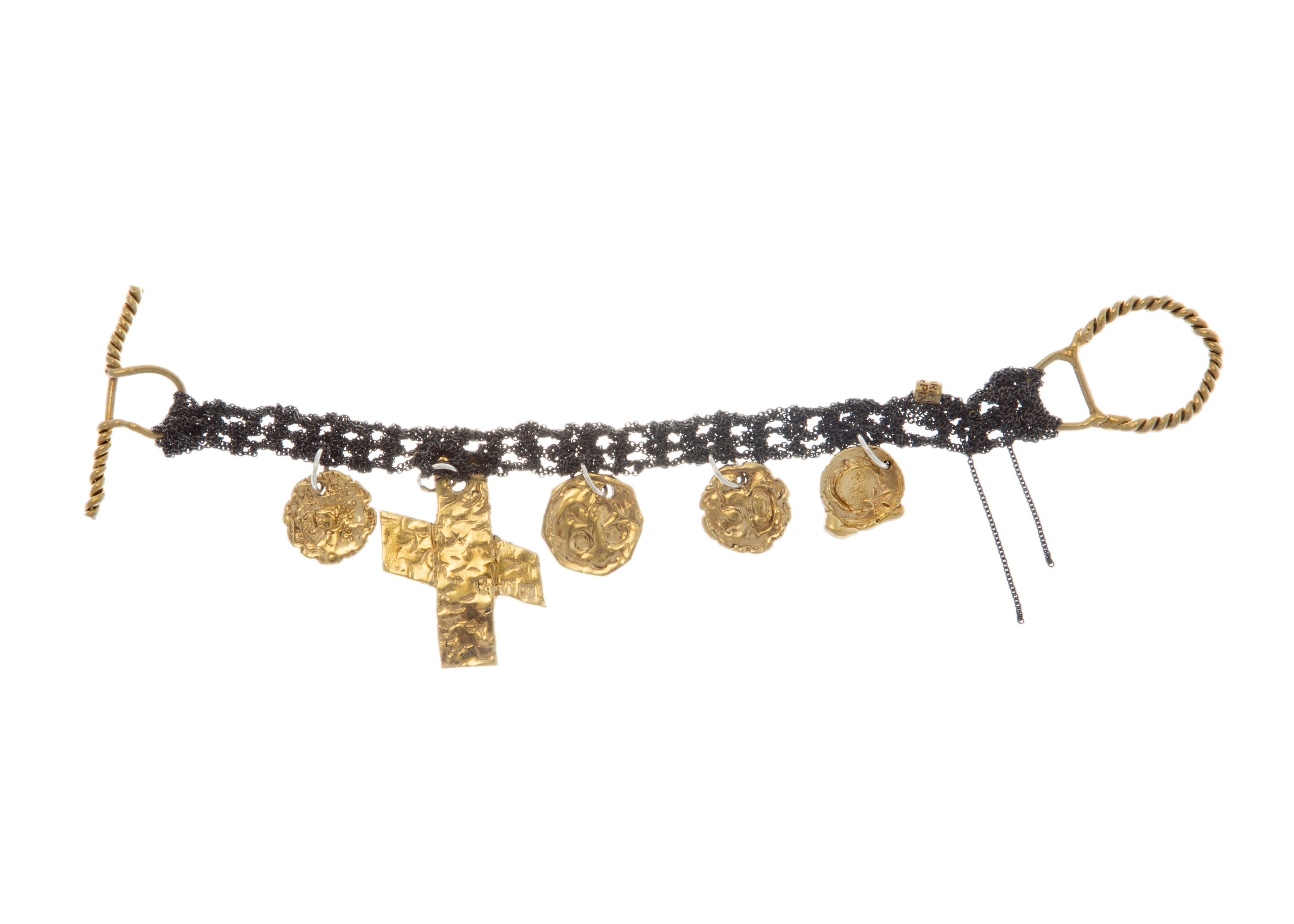 Currency Bracelet in Charcoal w/Brass Clasp