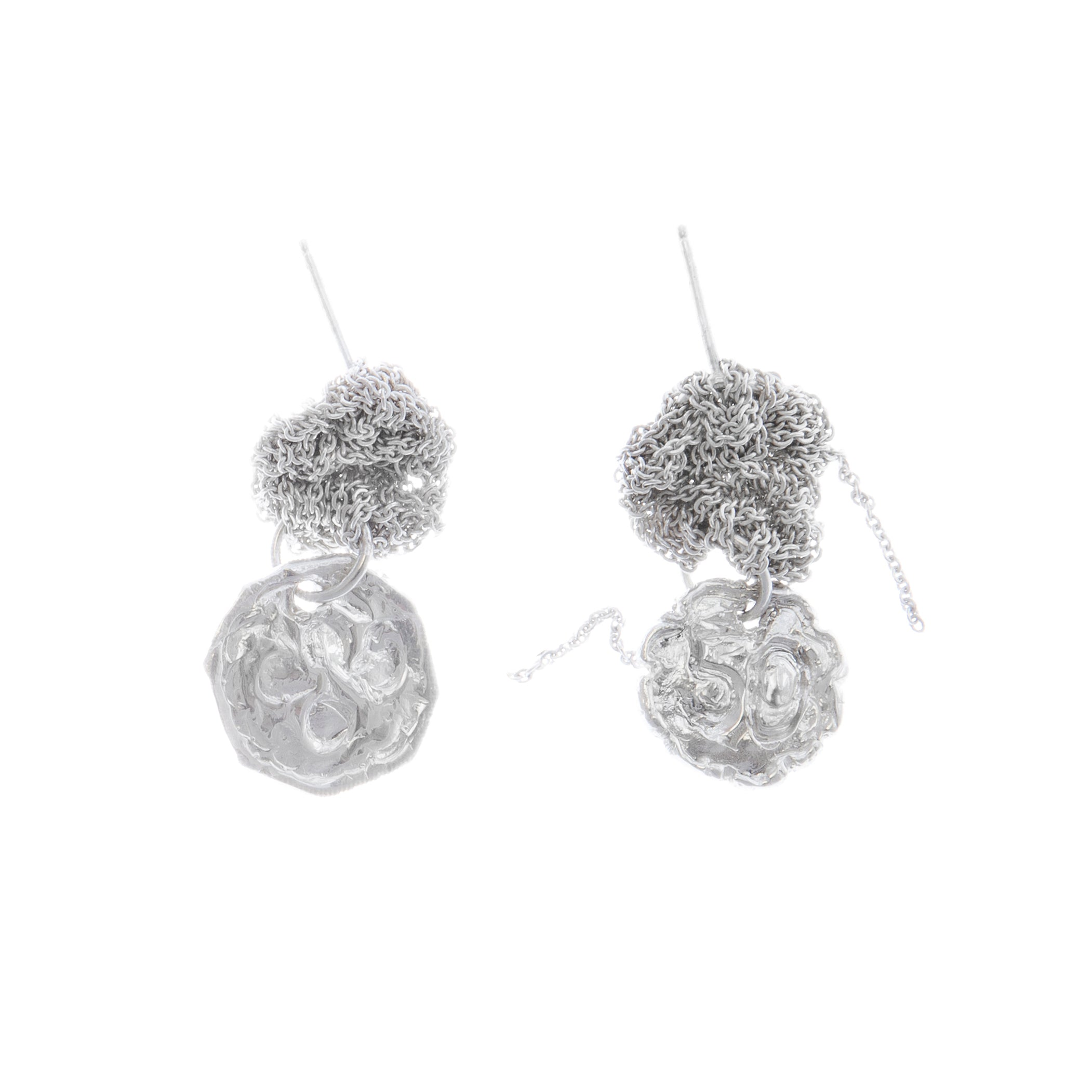 Currency Earrings in Silver