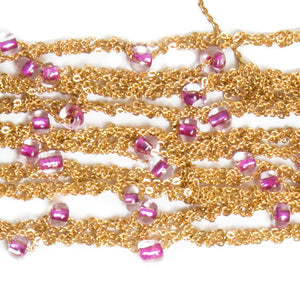 Beaded Multi Tress Bracelet with Brass Clasp in Gold with Pink Glassy Beads