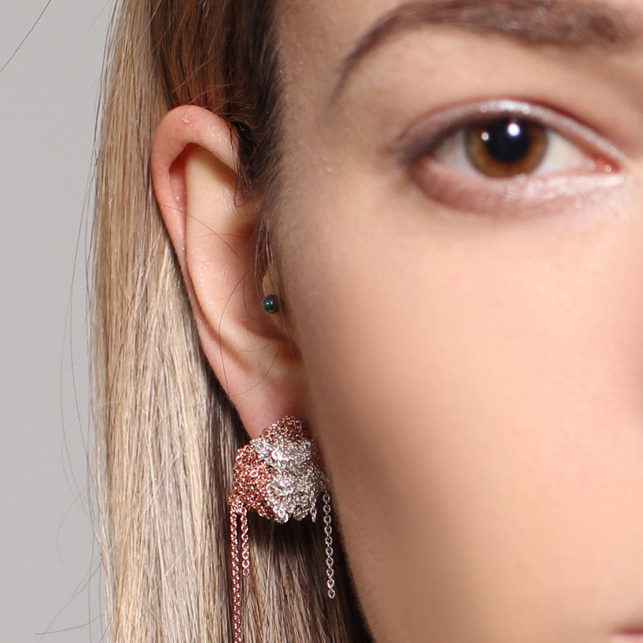 2-Tone Bead Earrings in Silver + Rose Gold