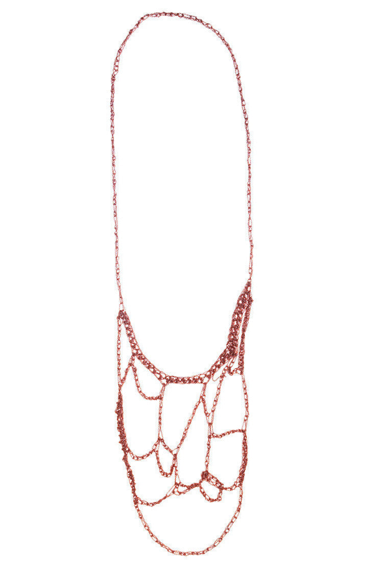 Web Necklace in Rose Gold