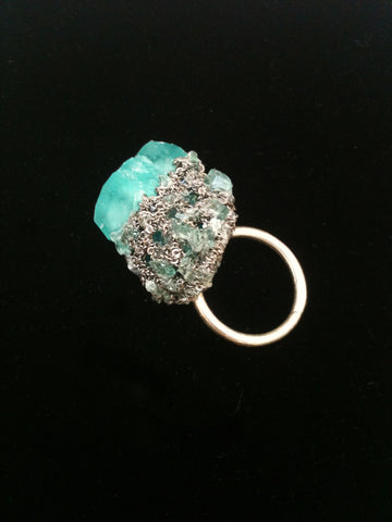 Crystal Boule Ring - Acid Blue + Ash Silver