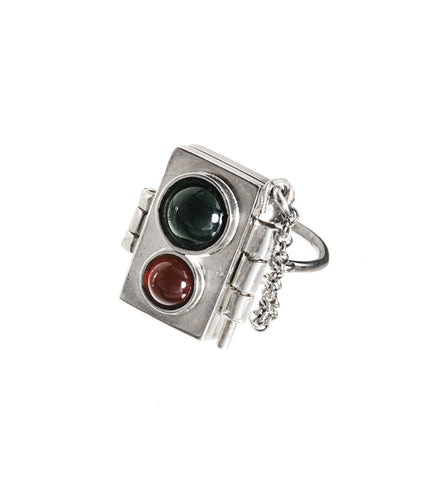 Cabochon Locket Ring with Inset Stones