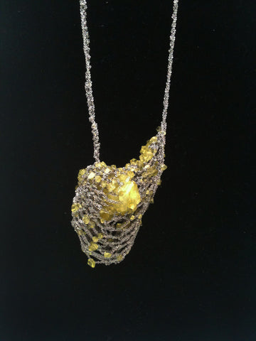 Crystal Drop Necklace - Citron + Ash Silver