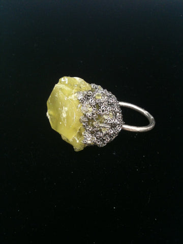 Crystal Boule Ring - Citron + Ash Silver