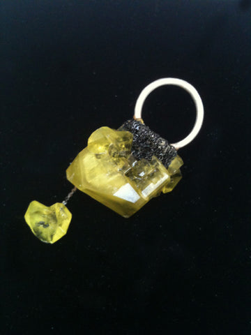 Crystal Boule Ring - Citron + Charcoal