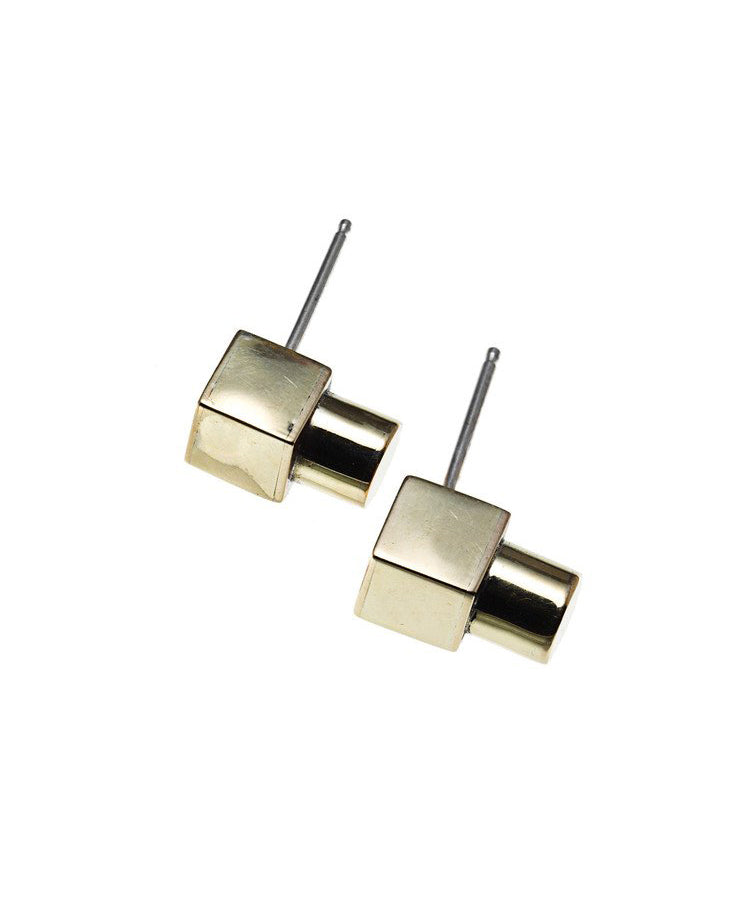 Cube + Cylinder Studs in Brass