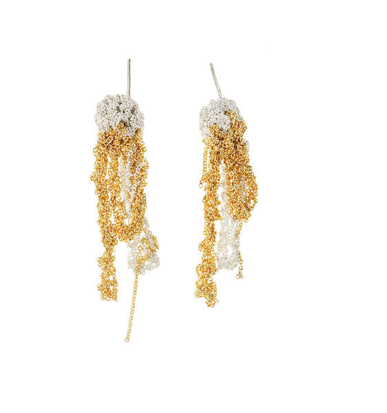 2-Tone Drip Earrings in Silver + Gold