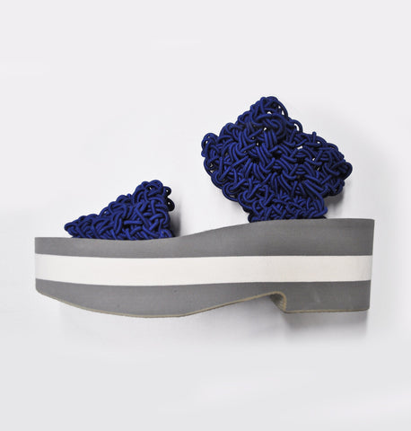 Copy of Crochet Strap Platform Sandal - Electric Blue