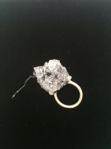 Crystal Boule Ring - Ice + Ash Silver