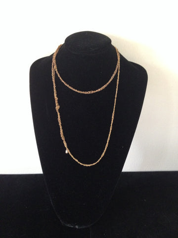 | Simple Necklace - 2x - Burnt gold + Gold |