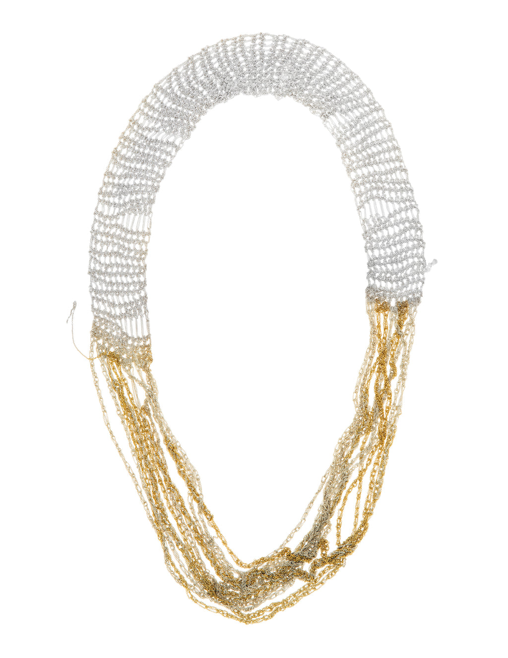 Broad Chain Necklace in Silver + Gold