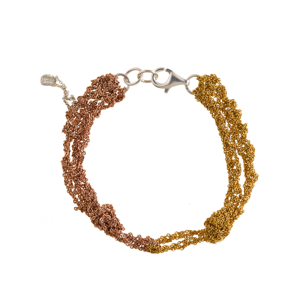 Siamese Bracelet in Rose Gold + Gold