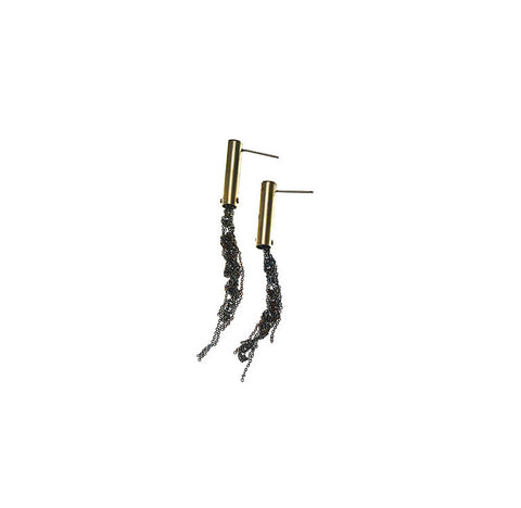 Blended cylinder trail earrings