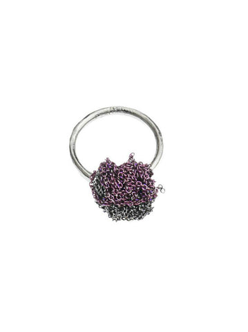 - 2 Tone Bead Ring - Plum + Charcoal -