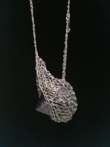 Crystal Drop Necklace - Violet + Ash Silver