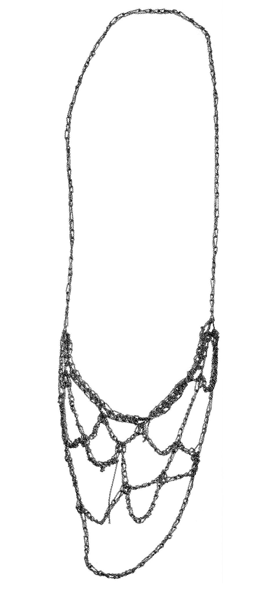 Web Necklace in Charcoal