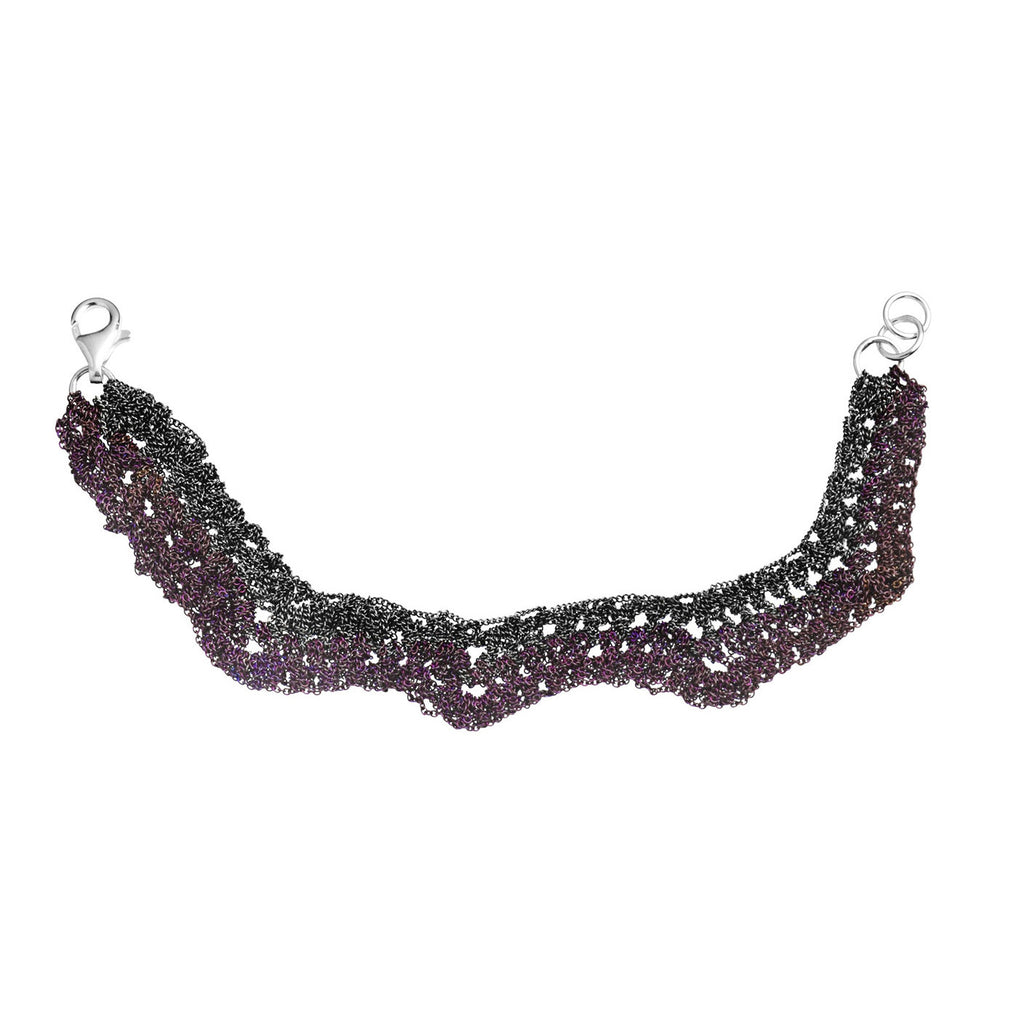 Zig Zag Bracelet in Charcoal + Plum