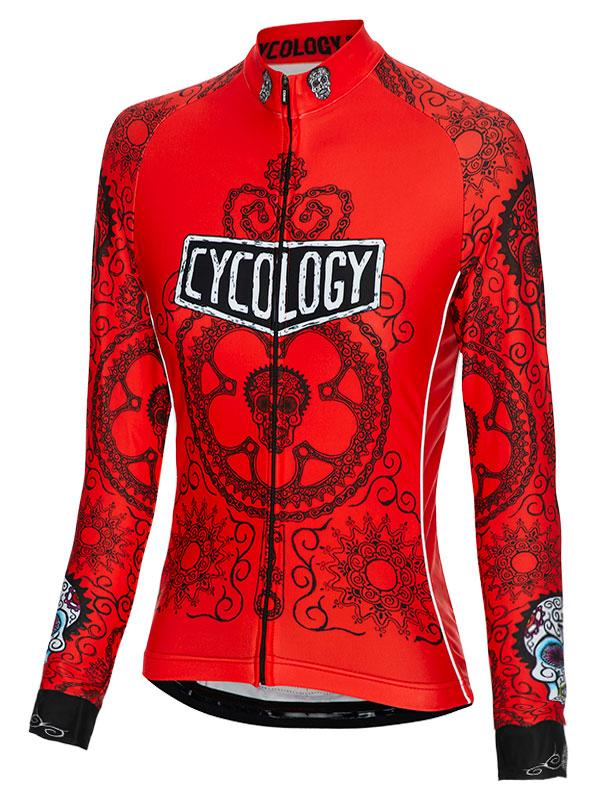 Fietsshirt Dames Lange Mouw Day of the Living Red