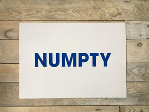 A3 NUMPTY RISO PRINT - POMPEY TYPE SERIES - foursandeights