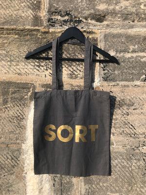 POMPEY TYPE SERIES -  SORT - GREY & GOLD TOTE BAG - foursandeights