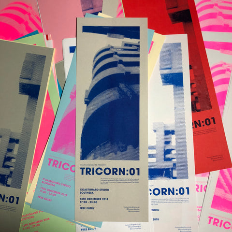 Tricorn:01 Exhibition Poster – Risograph Print - foursandeights