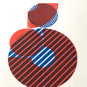 "RED & BLUE PRINTED BLOCK ""STACKED"" A3 Risograph Print – 002"
