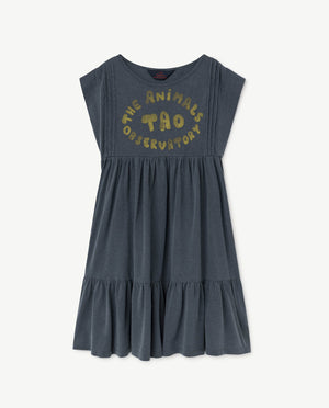 Selectshop FRAME - THE ANIMAL OBSERVATORY Robin Dress Blue Animals Kids Dubai