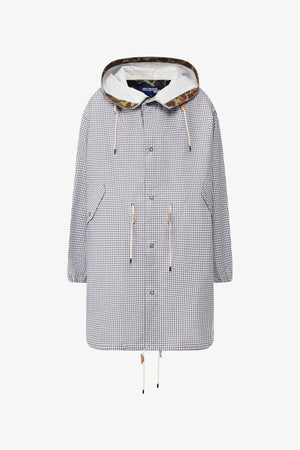 Check Print Hooded Coat